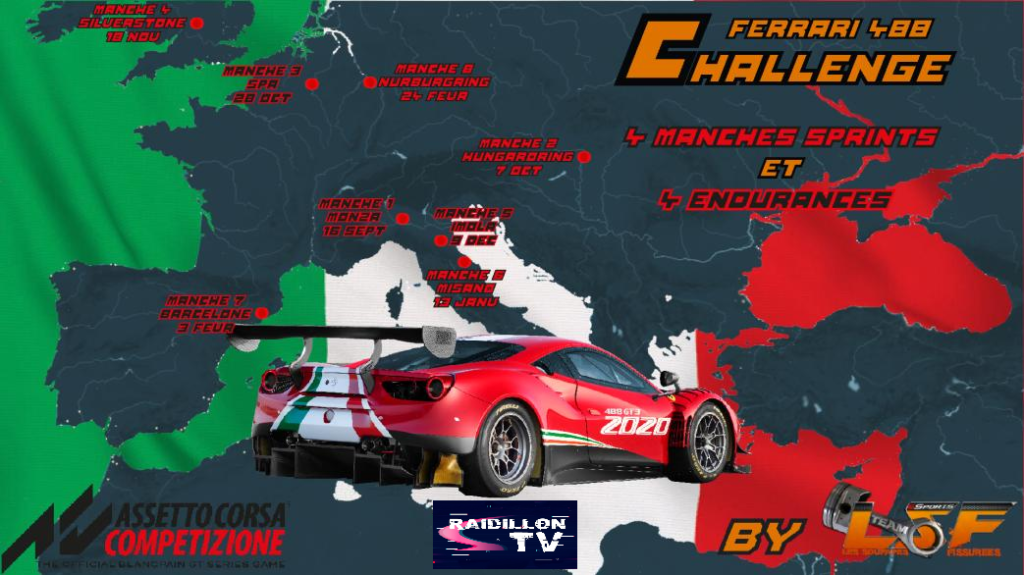 16/09/2021: ACC- 1ère manche du championnat Ferrari 488 EVO  1er Michael Cirella; 2eme Cédric Bet; 3eme [ LSF ] Mansello